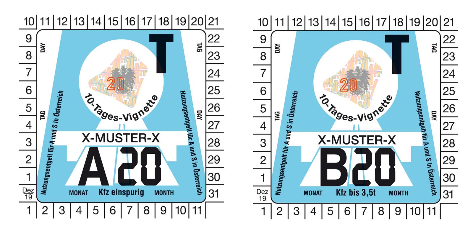 10-днена віньєтка для платних доріг Австрії