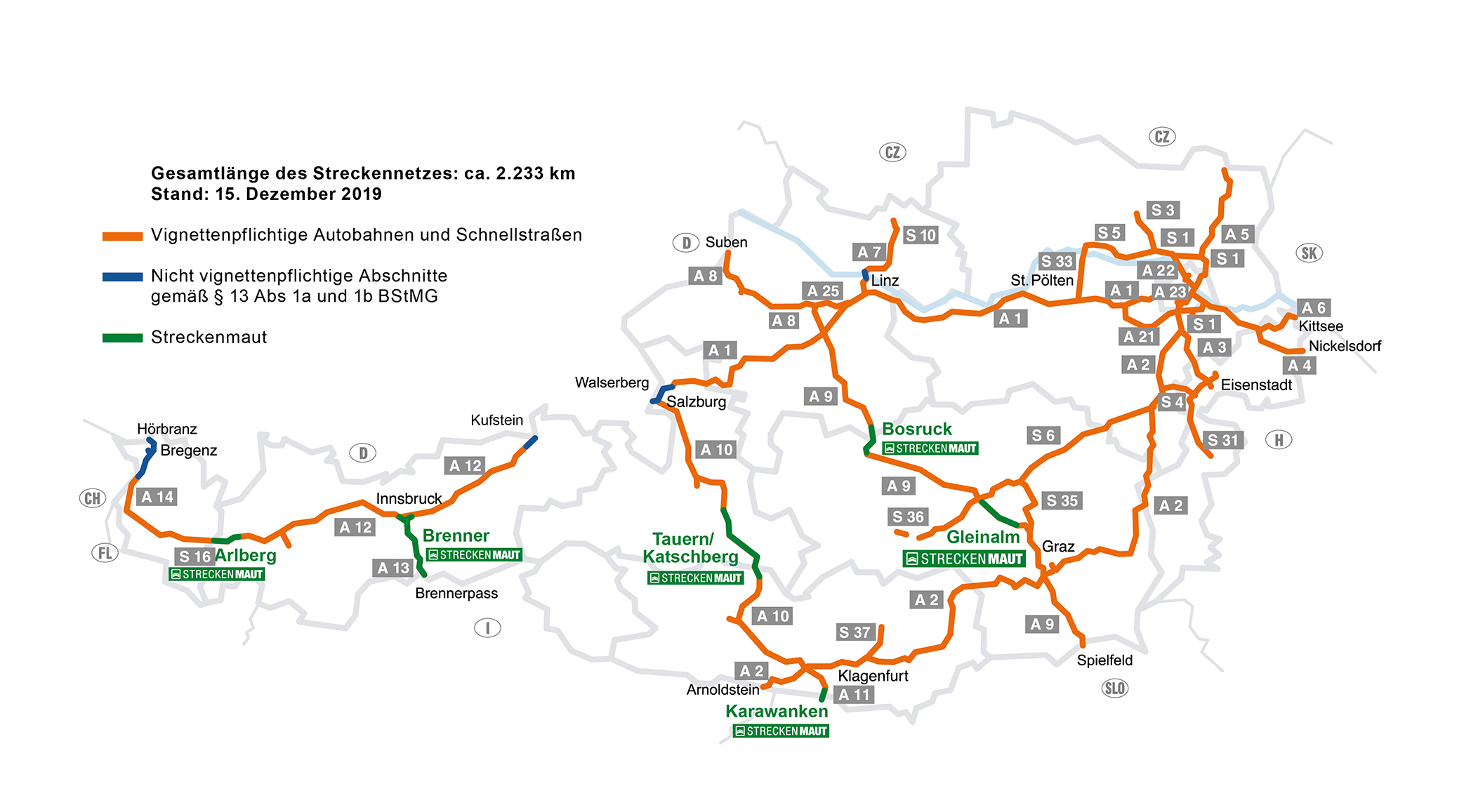 Overzicht snelwegen Vignet Oostenrijk